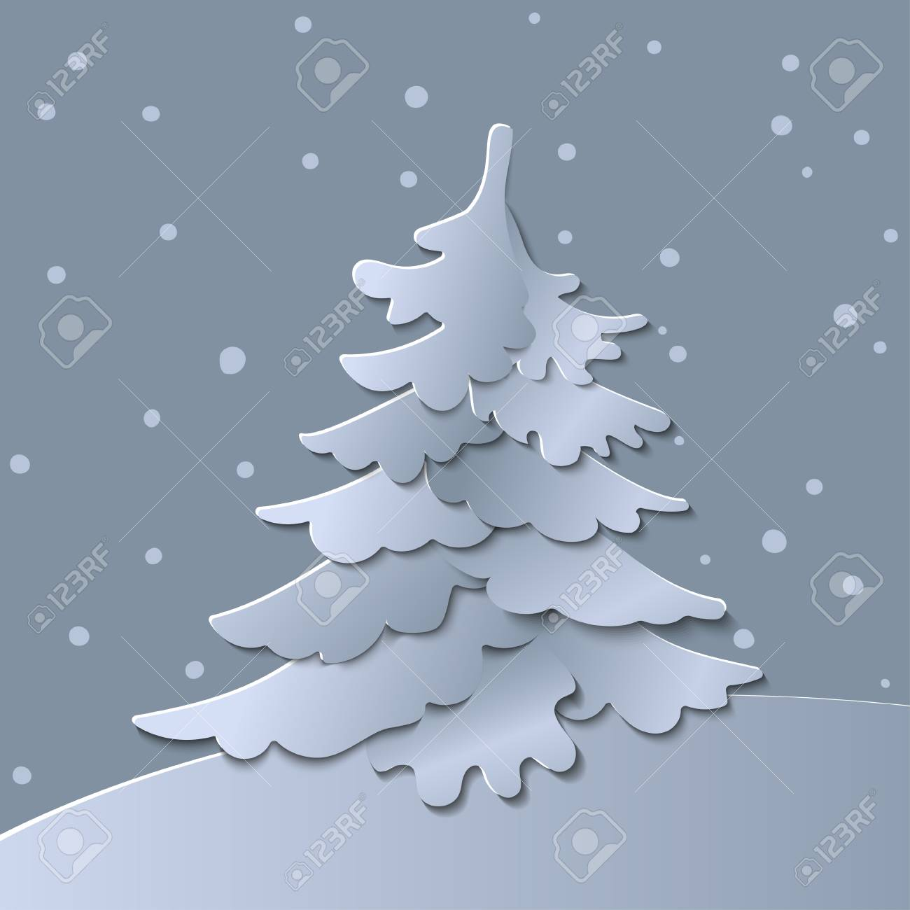 Colorful Christmas Tree Vector.3d Abstract Paper Cut Illustration Of Christmas Tree Vector