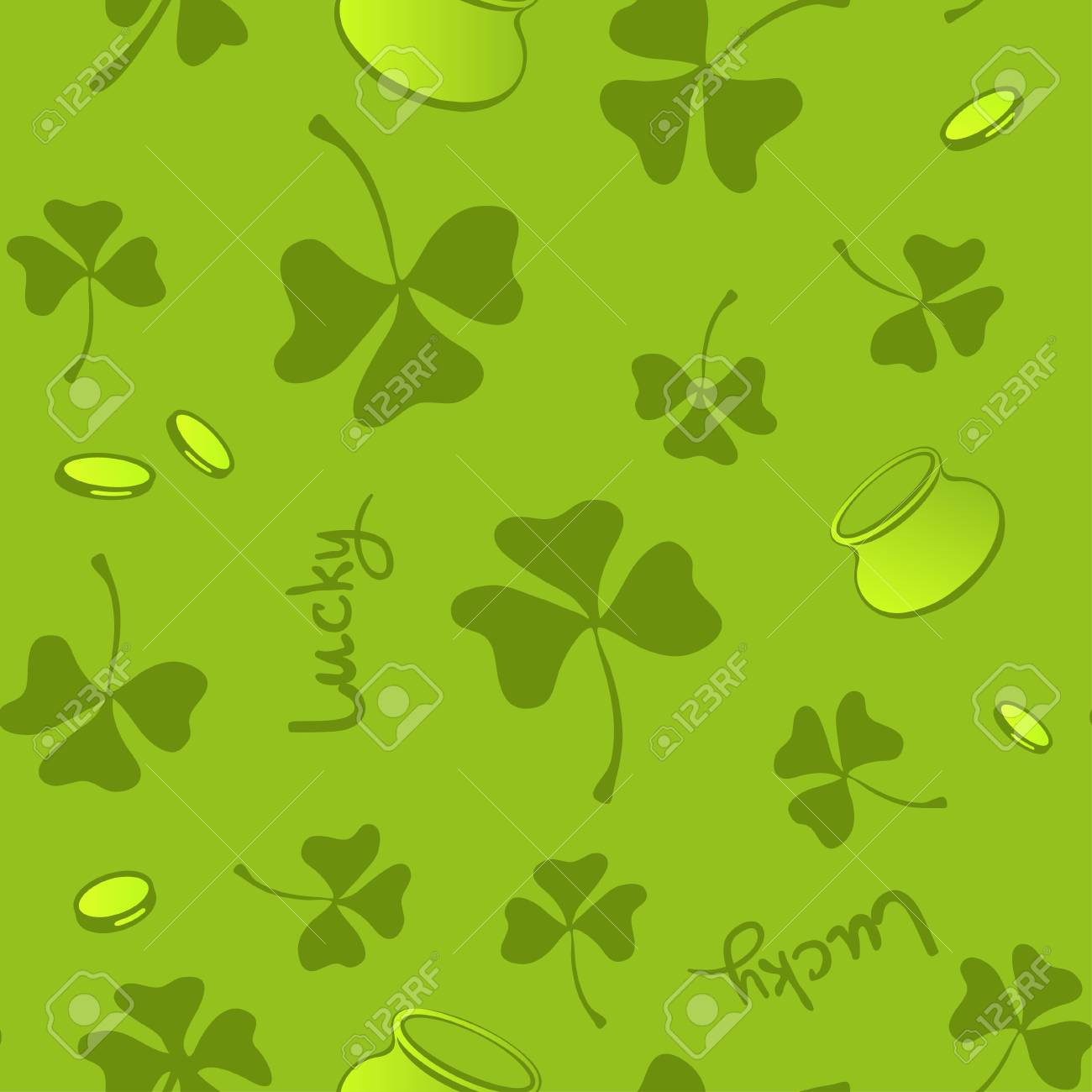 Clover Leaves Seamless Pattern St Patricks Day Green Background