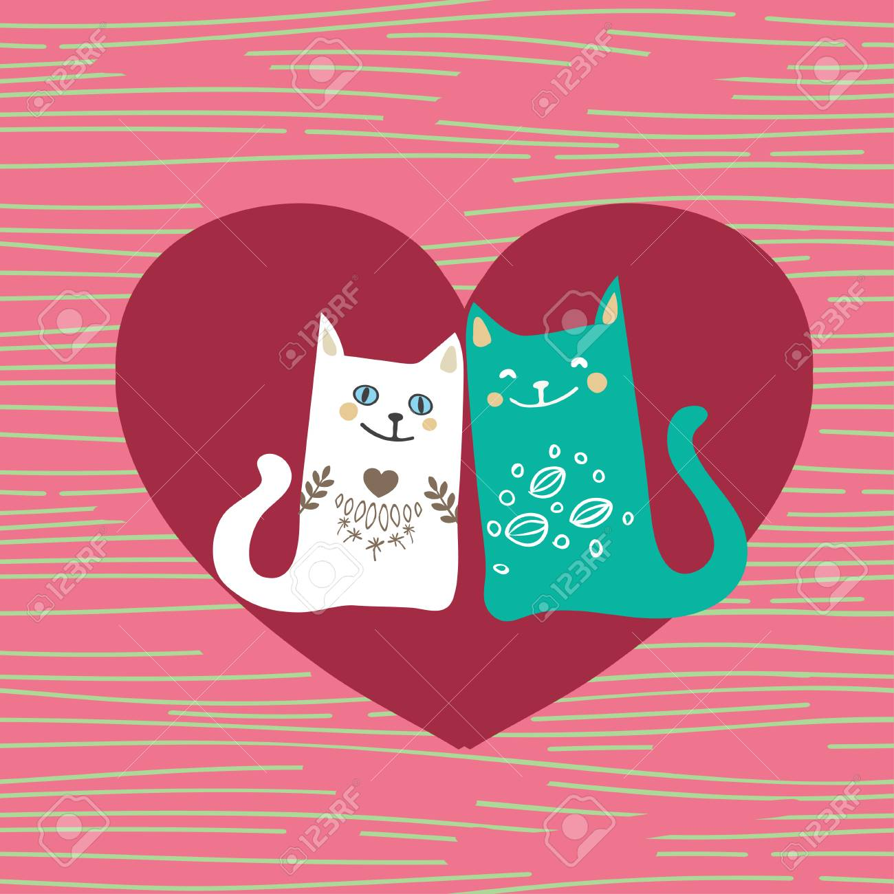 Vector Illustration Draw Character Design Couple Love Of Cat
