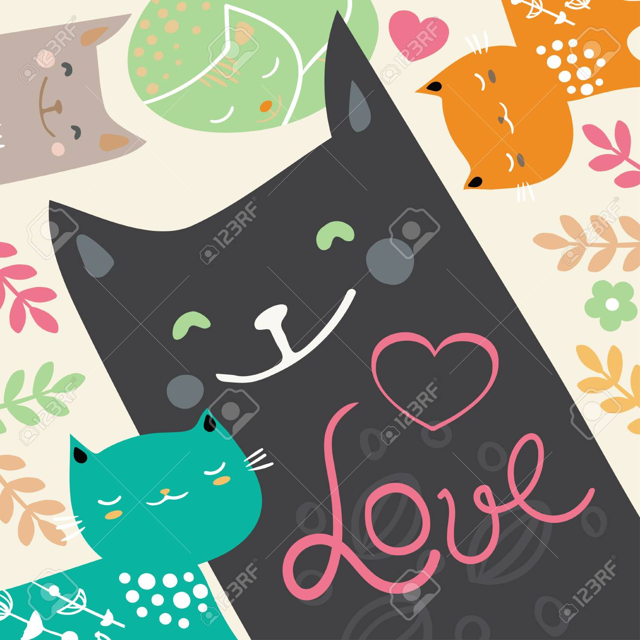 Illustration Draw Character Design Couple Love Of Cat In Valentine