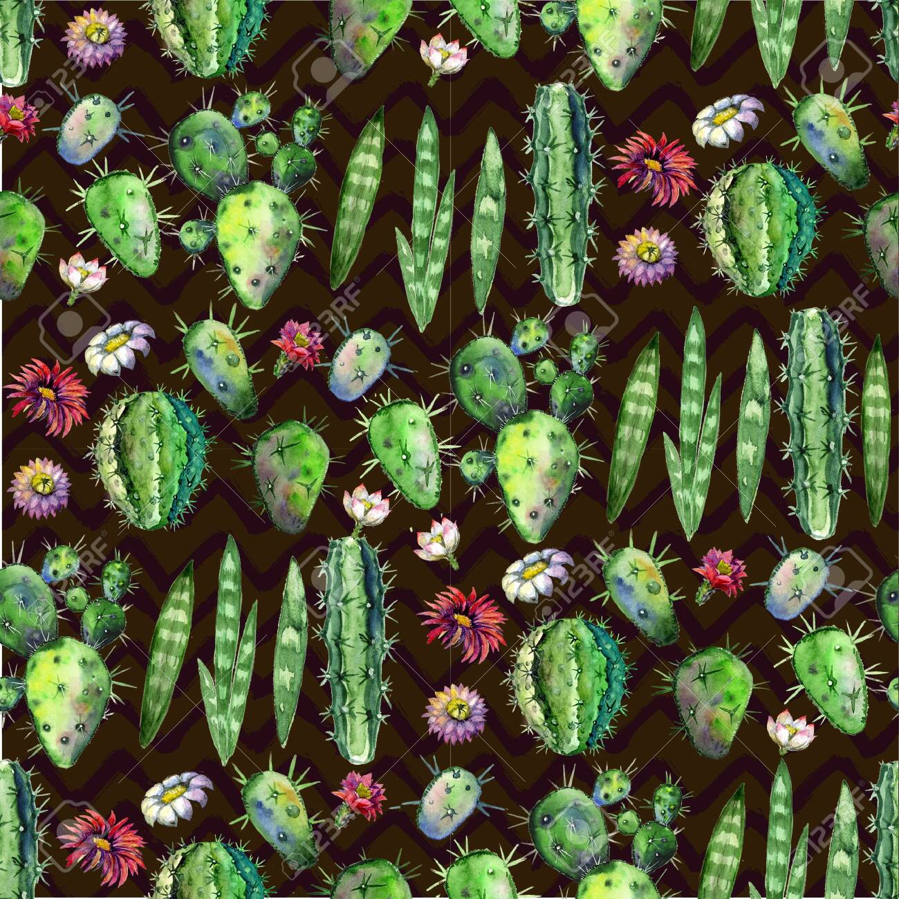Colorful Seamless Pattern With Succulents Plants Branches And Stock Photo Picture And Royalty Free Image Image 124183080