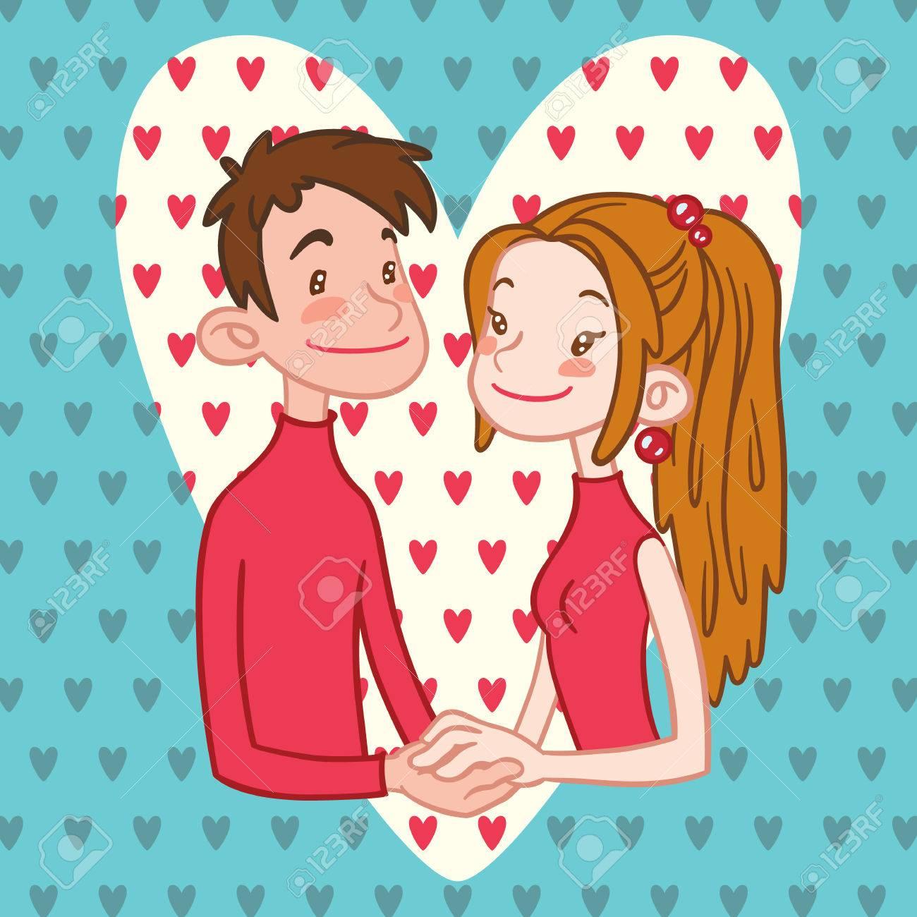 背景に心で手を繋いでいるロマンチックなカップルのイラスト。男の子と
