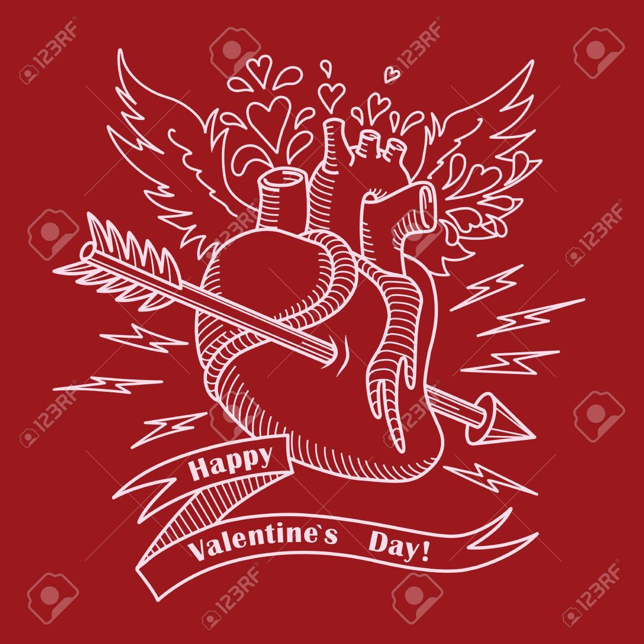 Tarjeta Del Día De San Valentín Con Corazón Ana, Las Alas, La Flecha ...