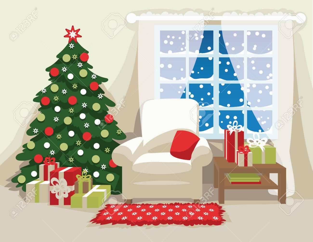 Weihnachten Innenraum. Bequeme Sessel Mit Kissen, Geschmückten ...