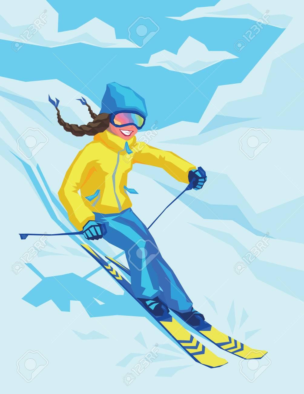 冬スキーそこに幸せな女の子のベクター イラストです雪の風景の背景に
