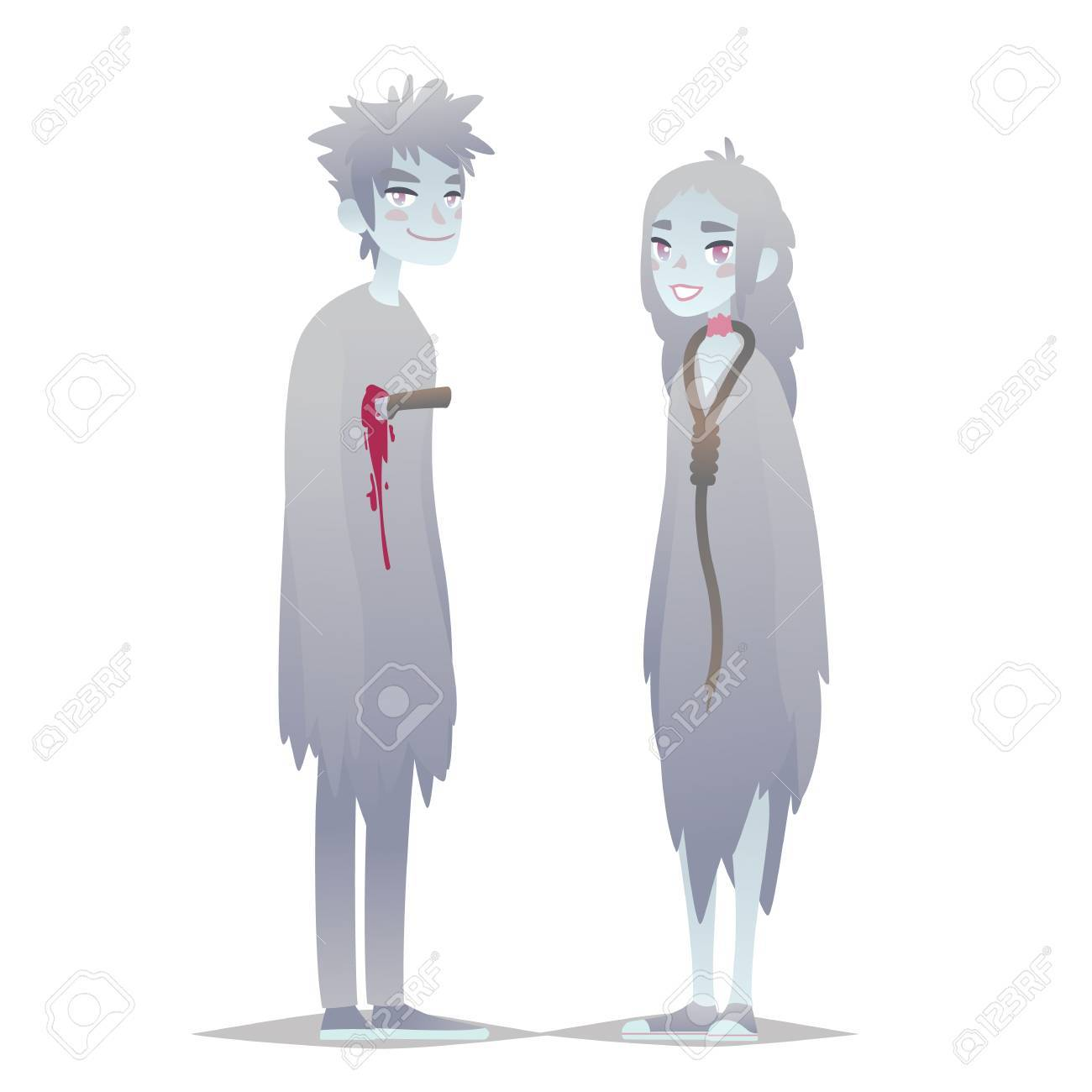 Ghosts Couple Cute Young Boy And Girl In Style Of Dead Monster