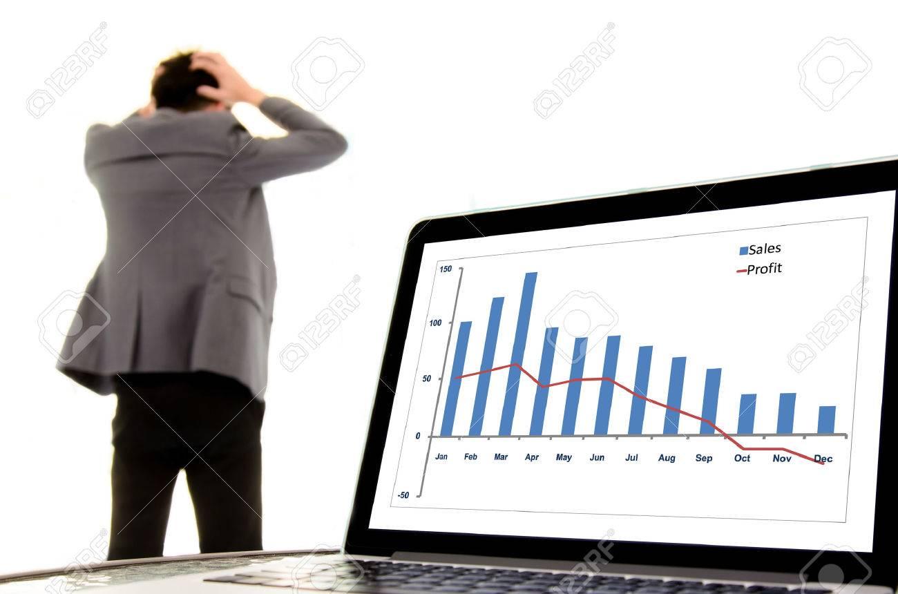 Konzentrieren Sie Sich Auf Den Laptop-Monitor Zeigt Rückgang Graph ...