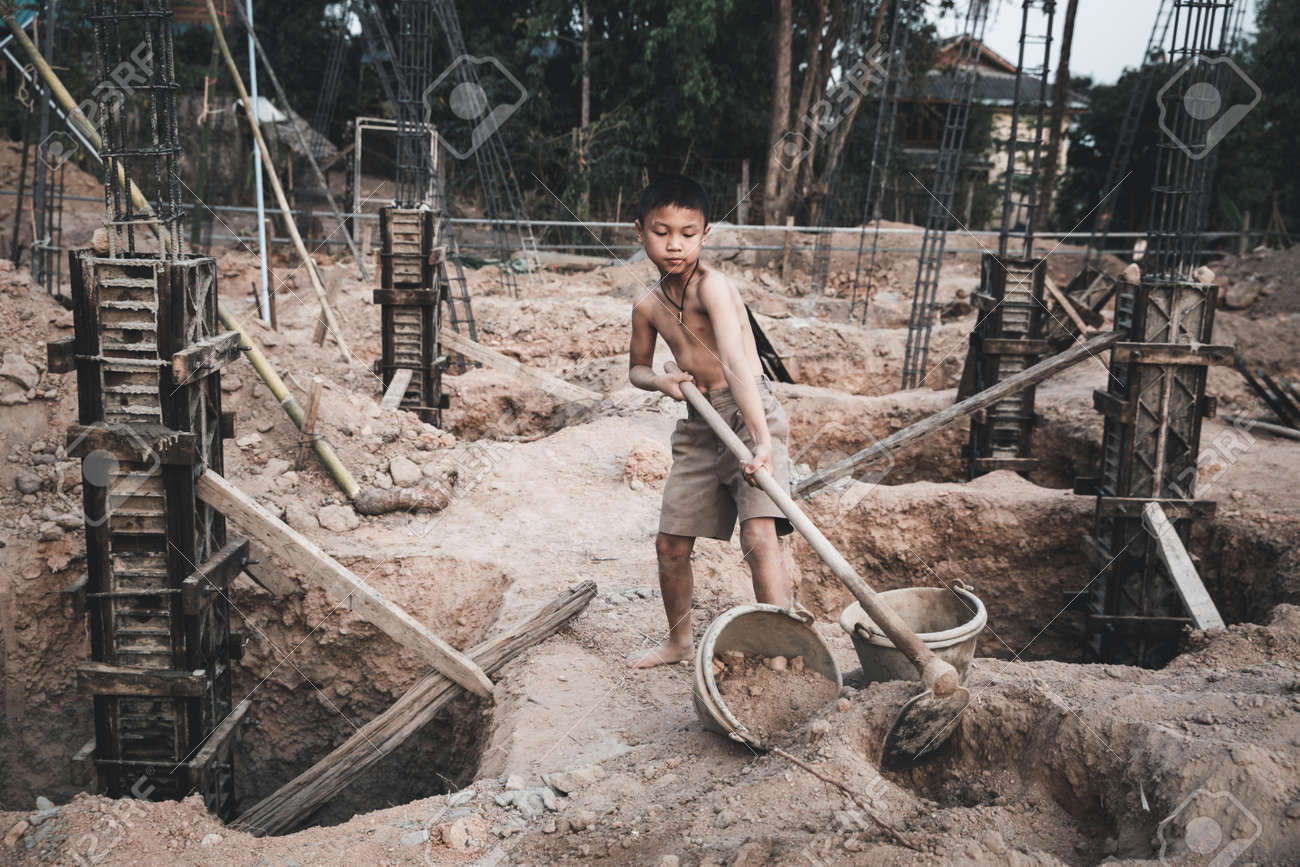 The concept of illegal child labor, Children are forced to work construction. Children violence and trafficking, Rights Day on December 10 - 166347534