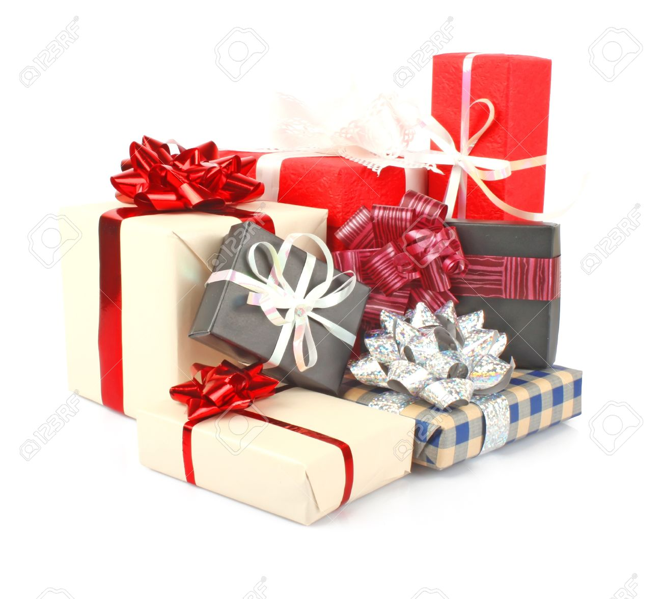 christmas gift boxes with ribbon and bow on white christmas decorations stock photo 11100708