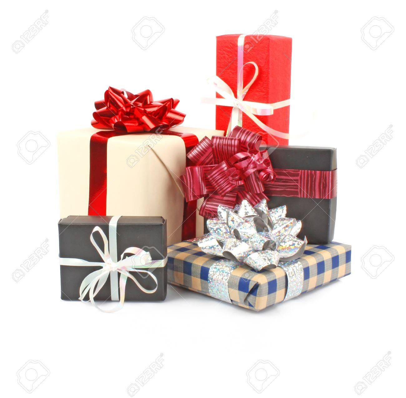 christmas gift boxes with ribbon and bow on white christmas decorations stock photo 11100713