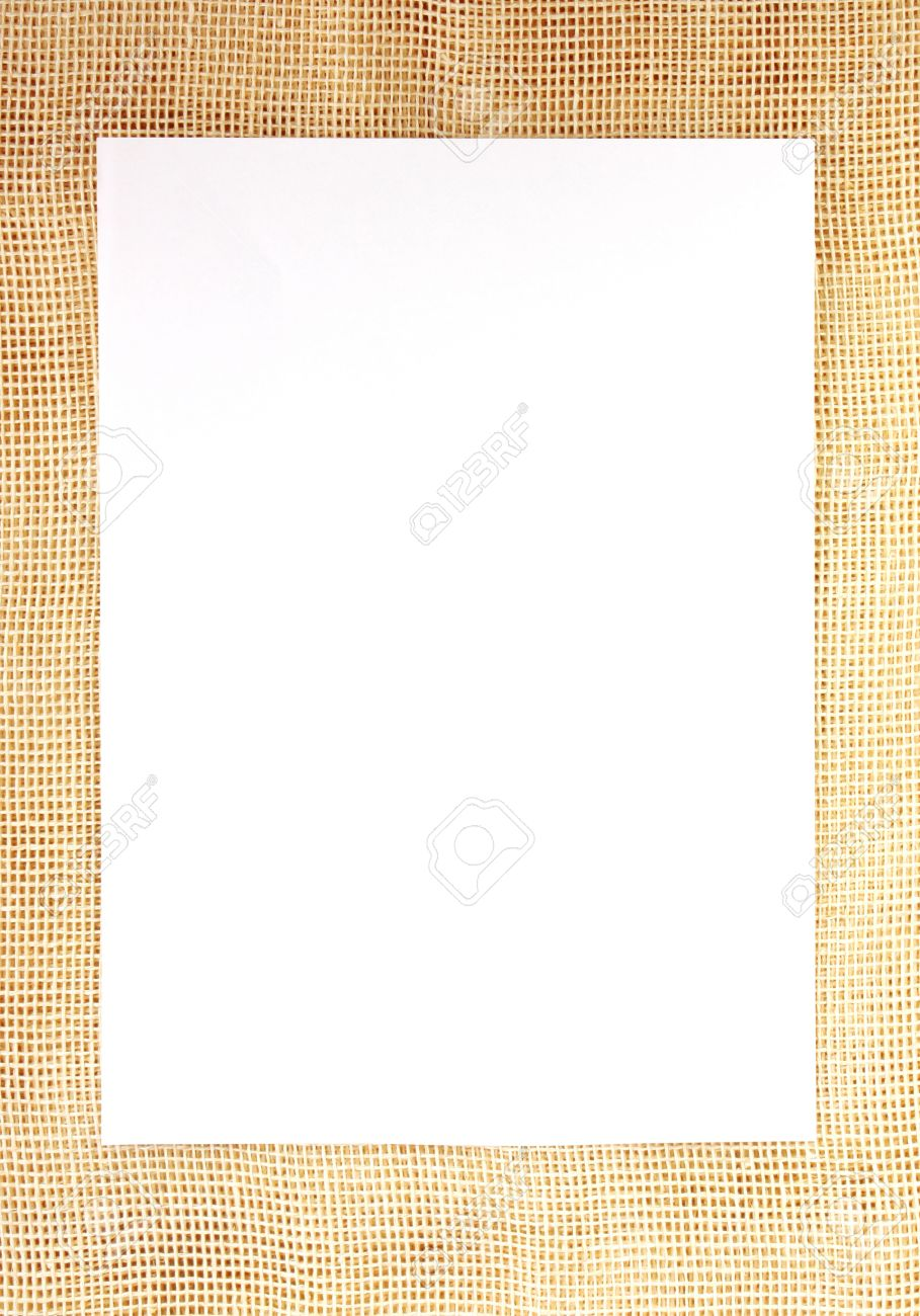 White Sheet Of Paper On Old Yellow Burlap Frame Stock Photo, Picture ...