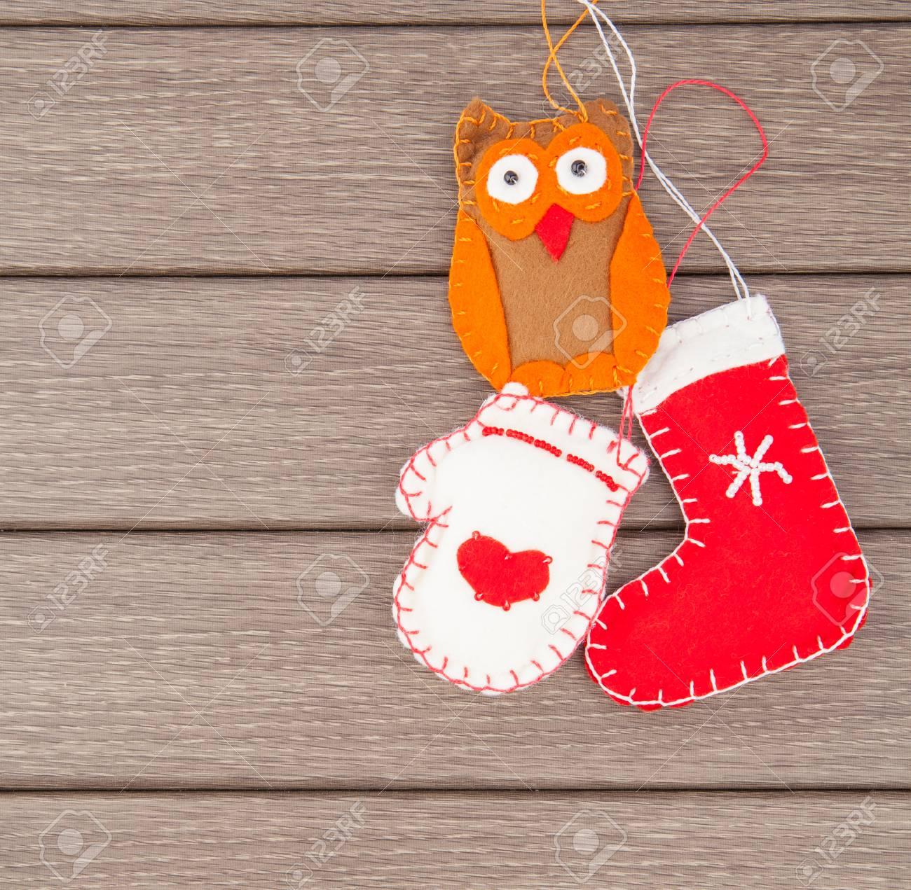 Christmas Handmade Felt Toys On Wooden Holiday Decoration