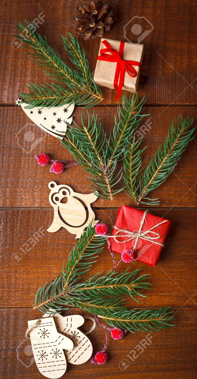 Christmas Homemade Wooden Decoration With Gift And Green Branch ...
