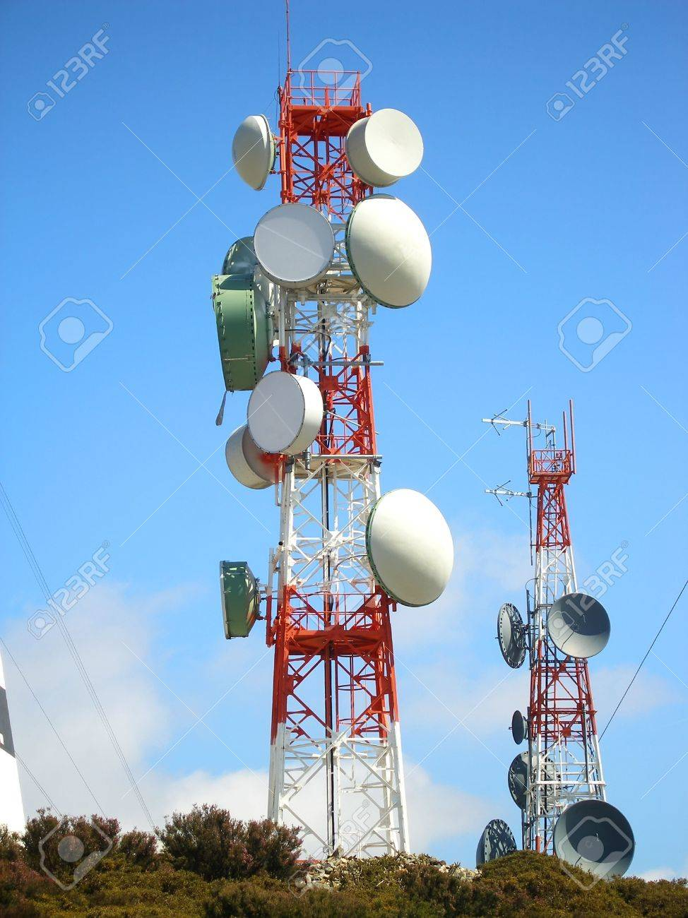 communication antena with an array of dishes Stock Photo - 6361731