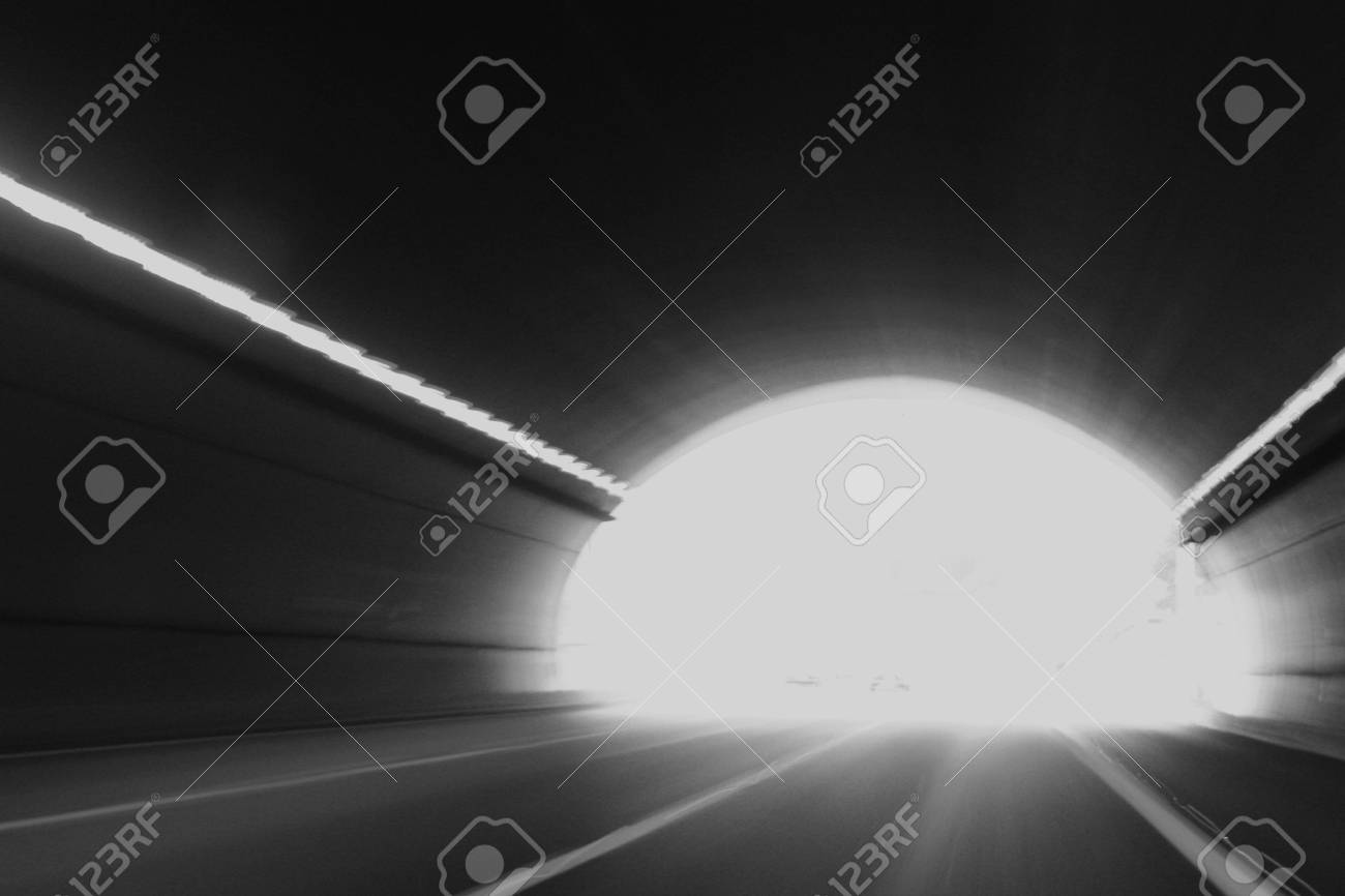 High speed tunnel. Exiting a tunnel at high speed. Stock Photo - 6650331