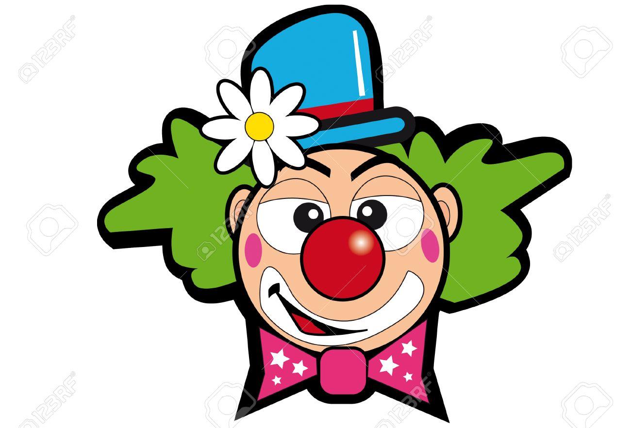 une tête de clown avec une fleur. clip art libres de droits