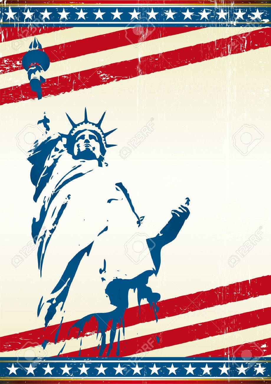 A grunge poster with the statue of liberty. Stock Vector - 5327731