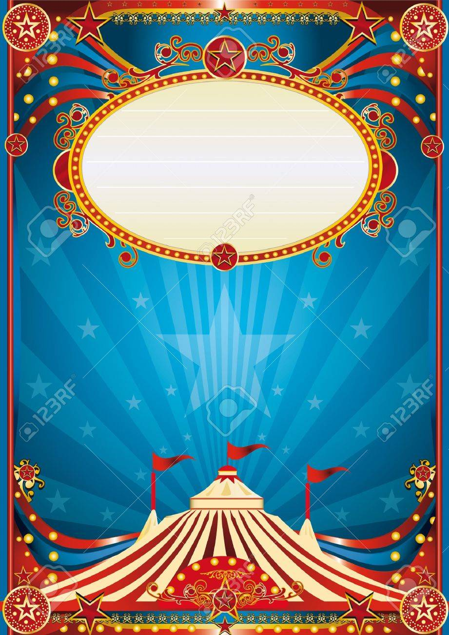A blue circus background for a poster with a spot ligth. Read your message ! Stock Vector - 11291794