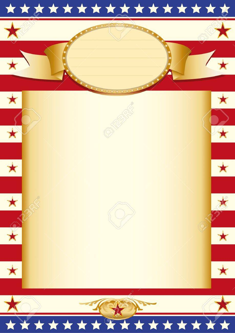 Poster with US Flag and a large beige colored frame Stock Vector - 11291699