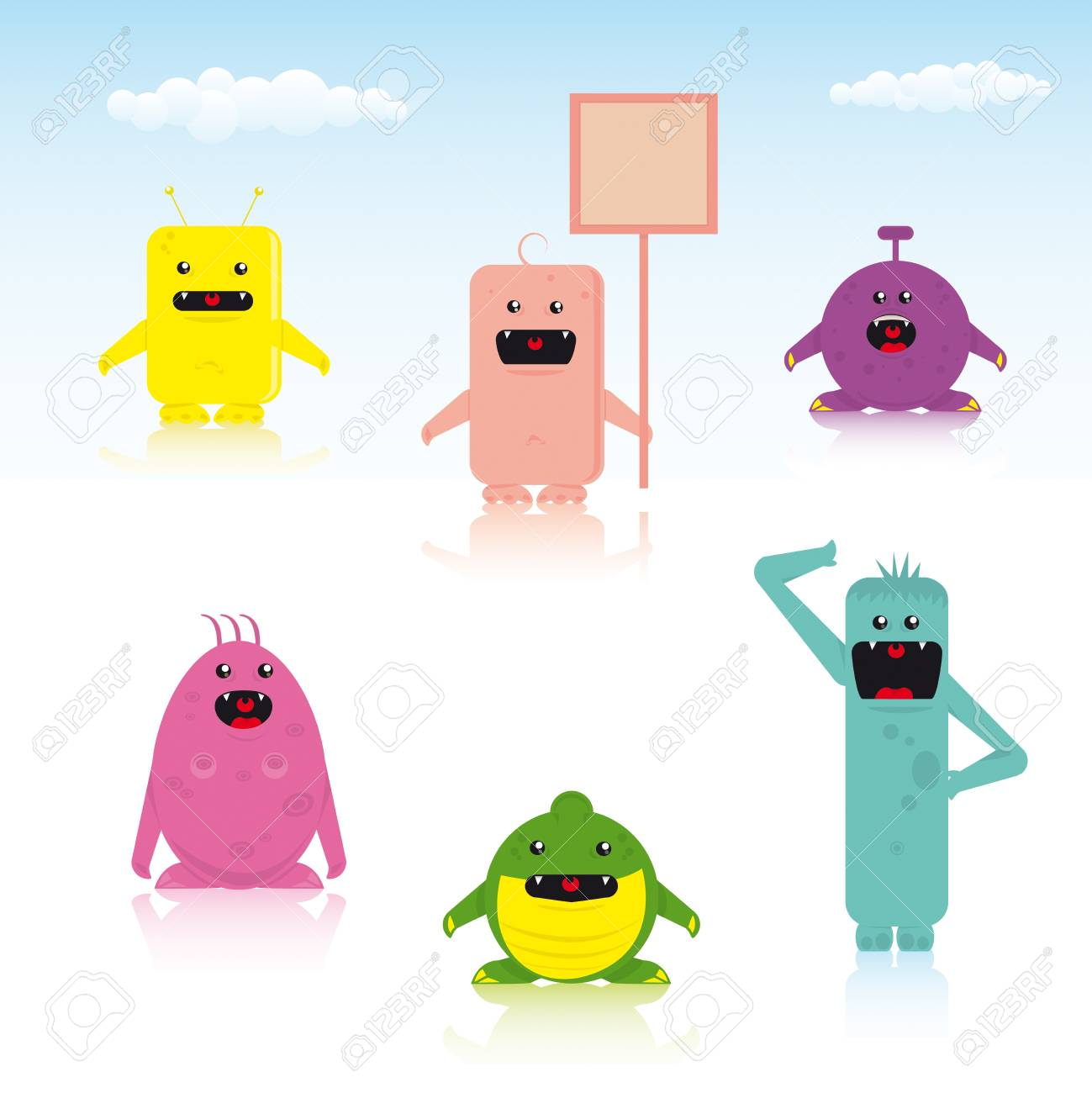 set of six multi colored characters. Stock Vector - 11291696
