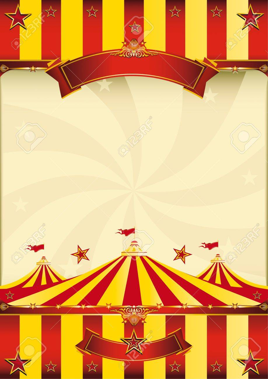 A red and yellow poster whith a big top for your advertising. Stock Vector - 11291760