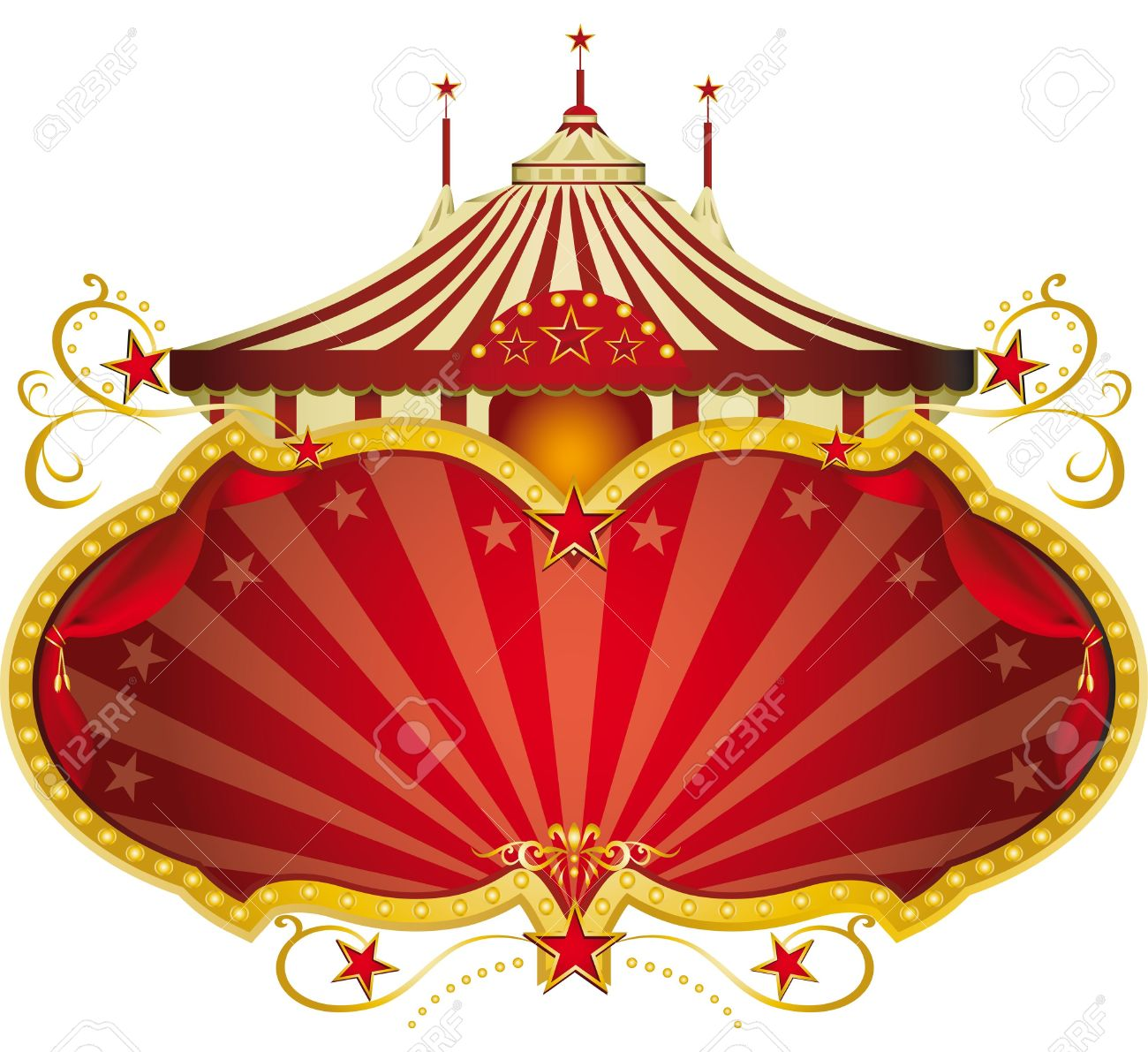A circus frame with a big top and a large copy space for your message. Stock Vector - 12008660