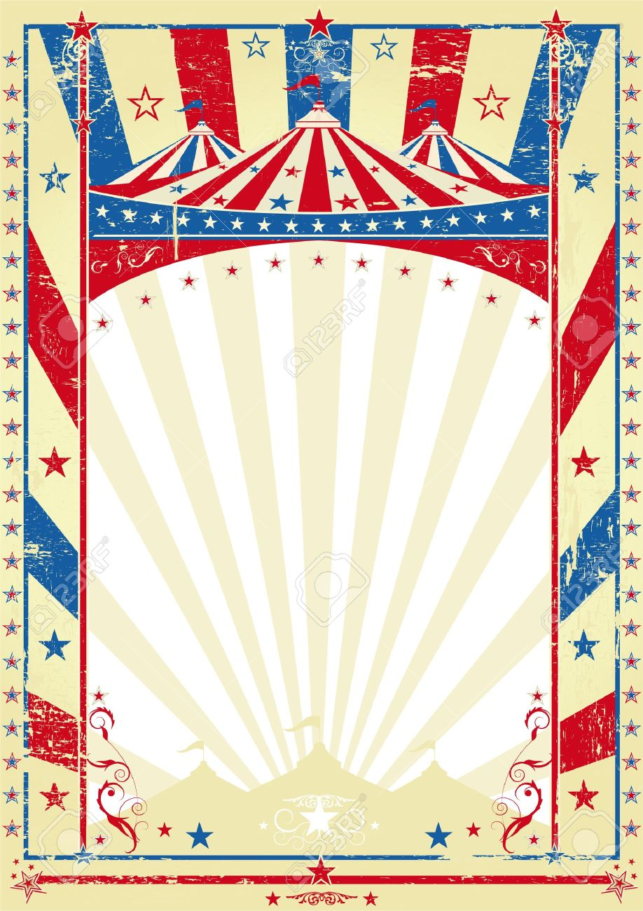 Vintage Circus Poster Background old tricolor poster big top