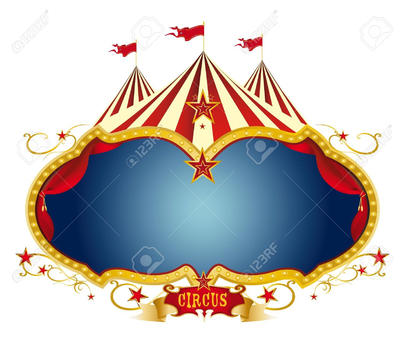 a circus frame with a big top and a large blue copy space for