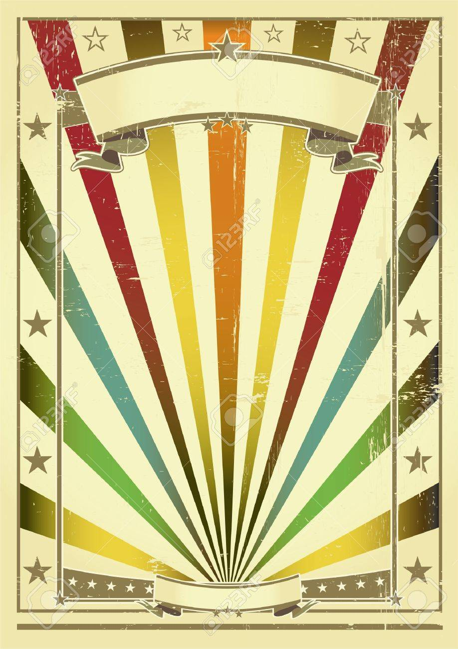 Vintage Circus Poster Background A vintage poster with sunbeams
