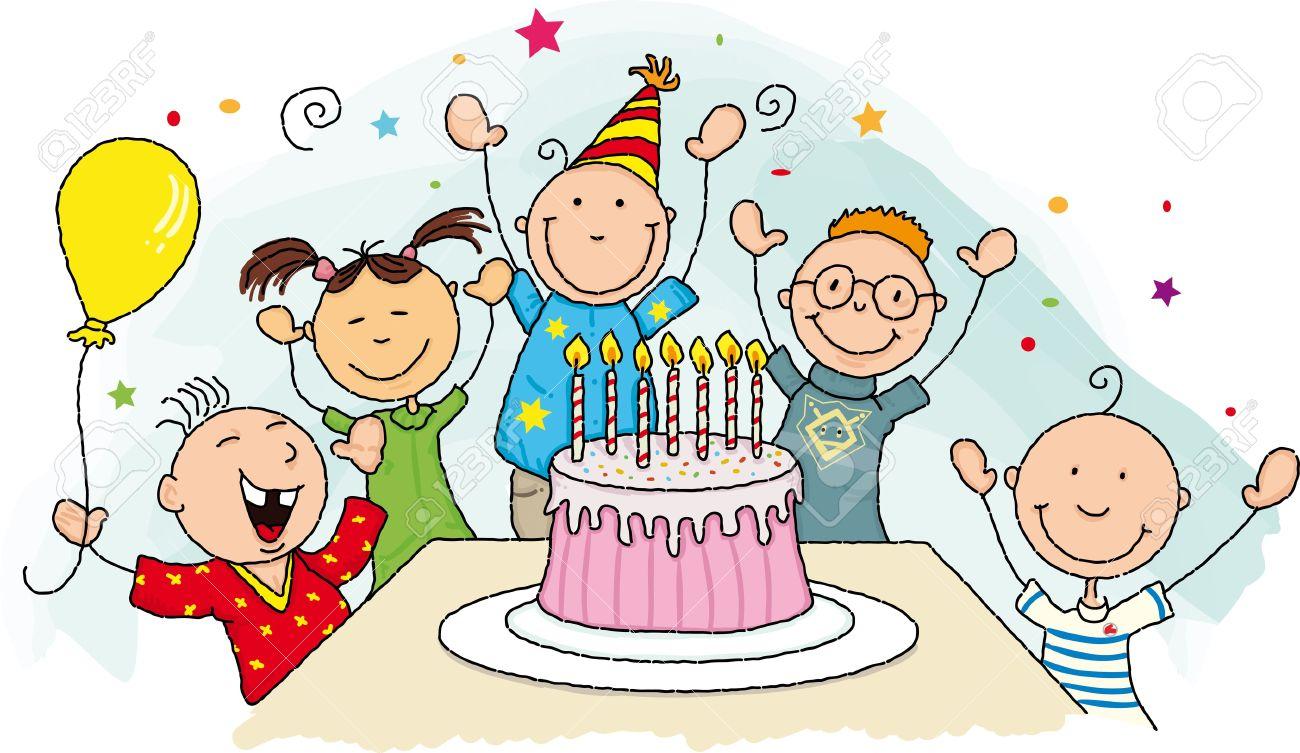 Bien-aimé Groupe Joyeux Anniversaire De La Jeune Enfant Autour D'un Gâteau D  BB95