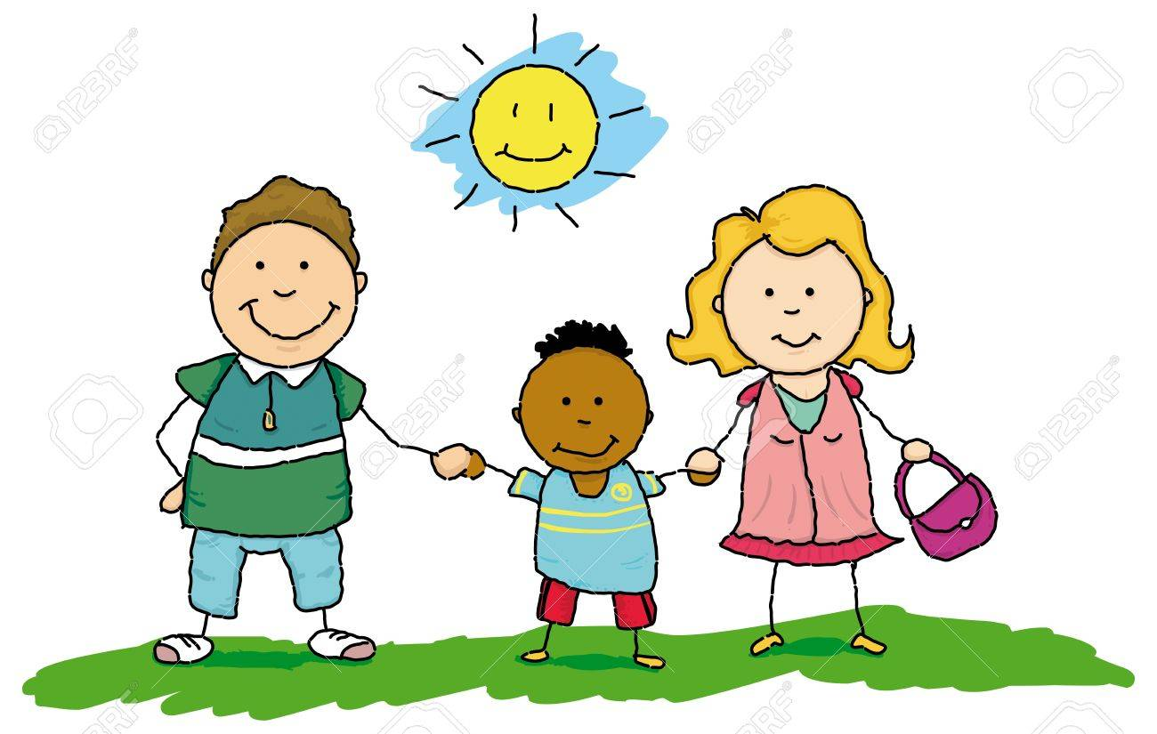 Two parents adopt an African orphan Stock Vector - 14114088