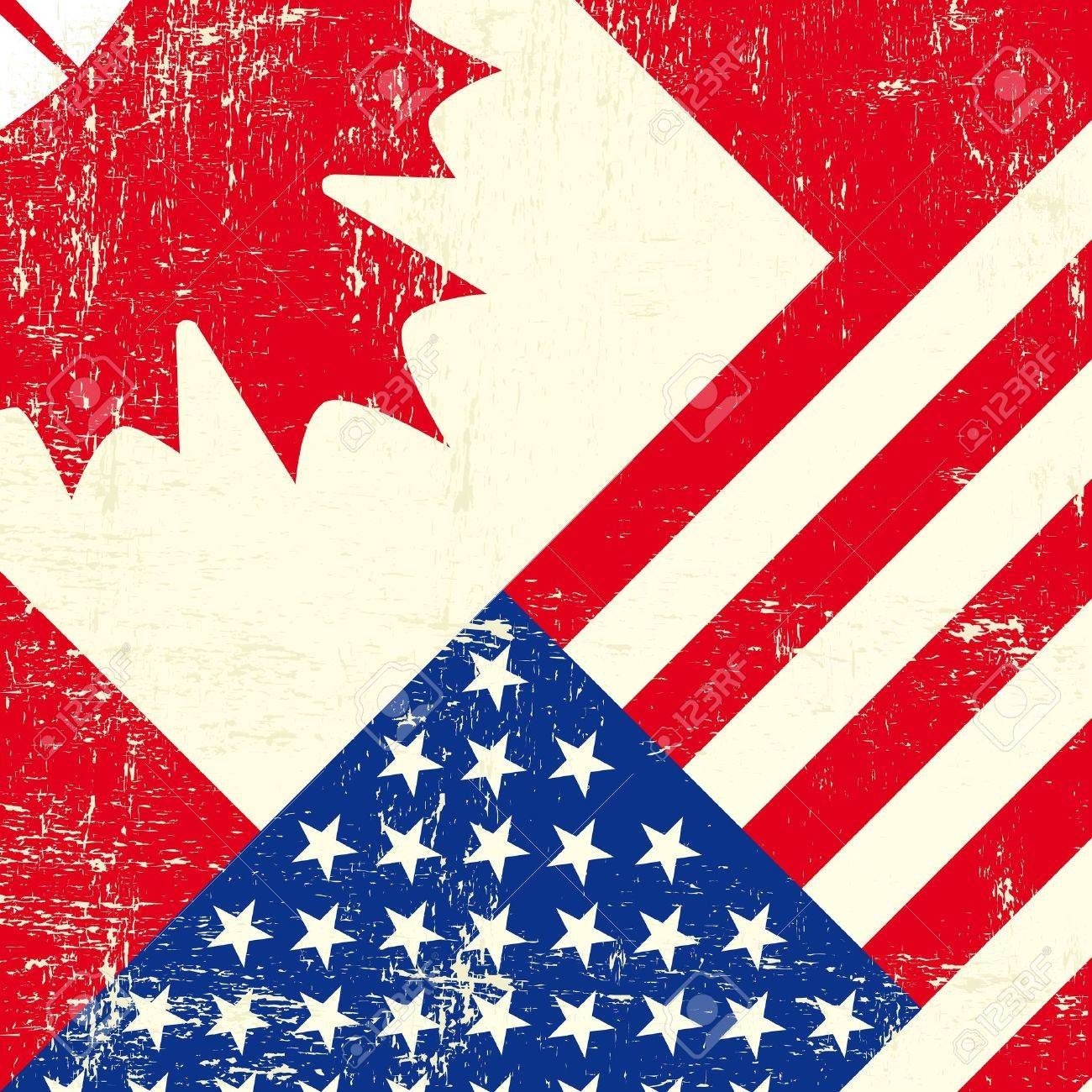 a canadian and american grunge flag royalty free cliparts vectors