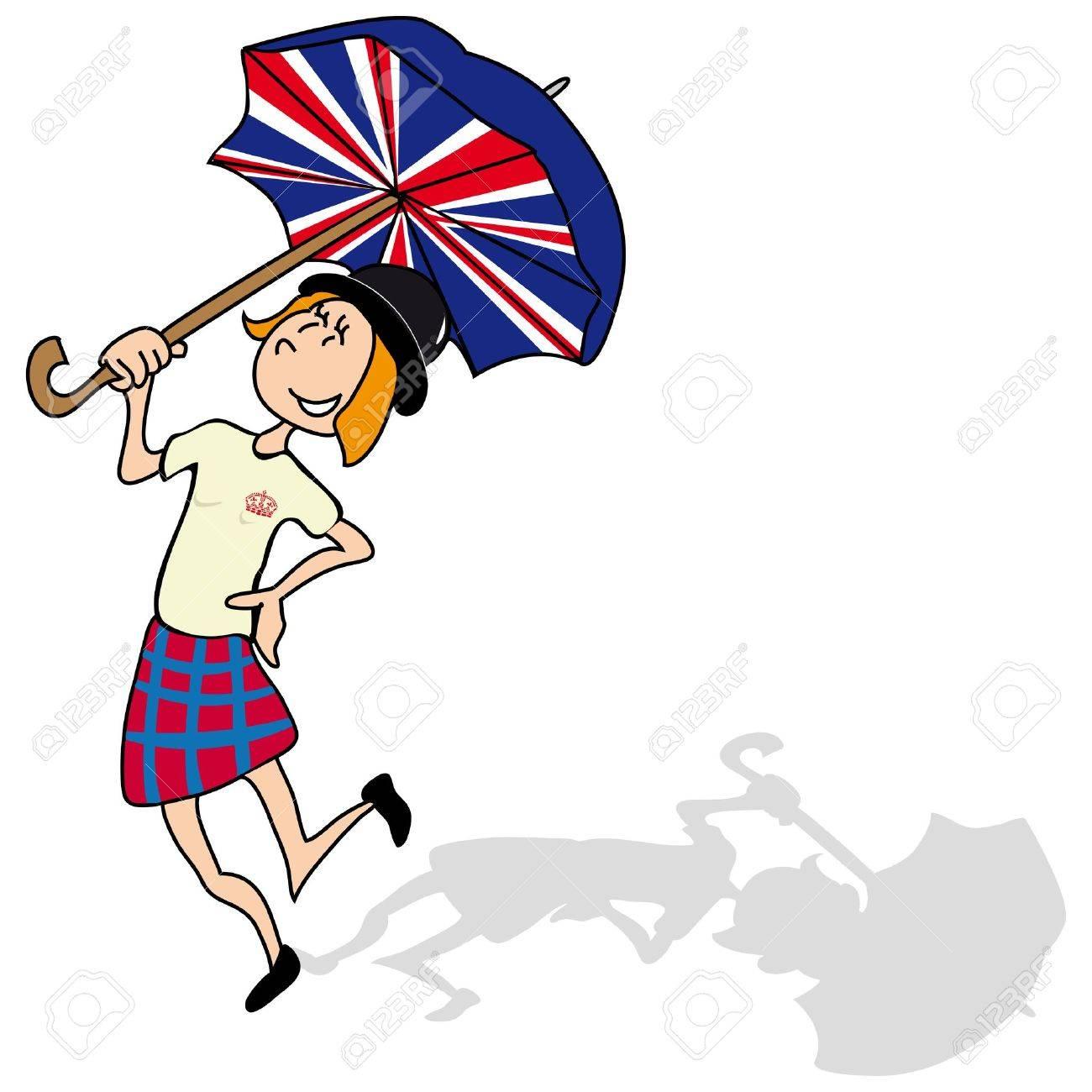 Englisch Madchen Ist Mit Einem Britischen Dach Tanzen Lizenzfrei