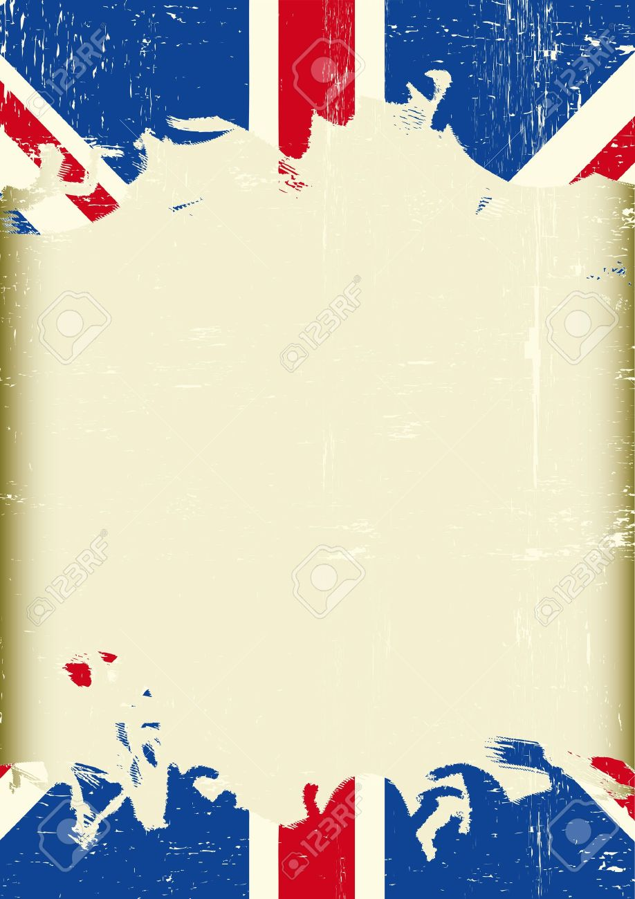 A Dirty British Flag With A Large Frame For Your Message Royalty ...
