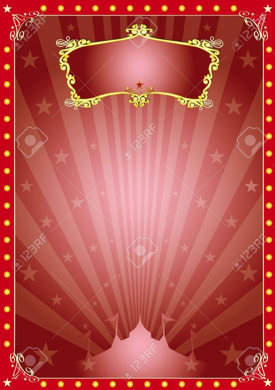 A circus red vintage poster with sunbeams for your advertising Stock Vector - 16775861