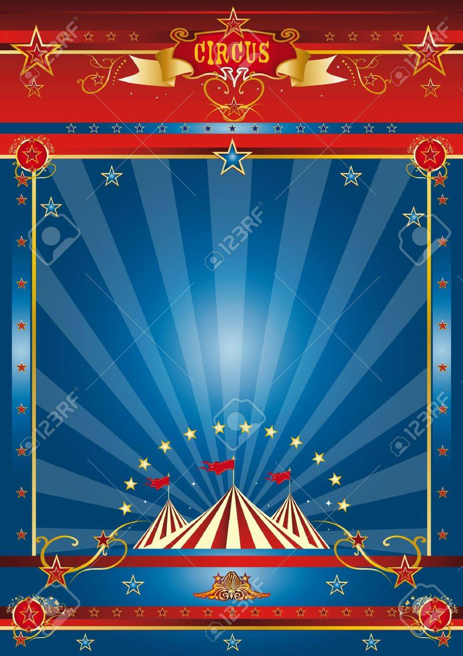 a circus blue poster for your advertising Stock Photo - 17313111