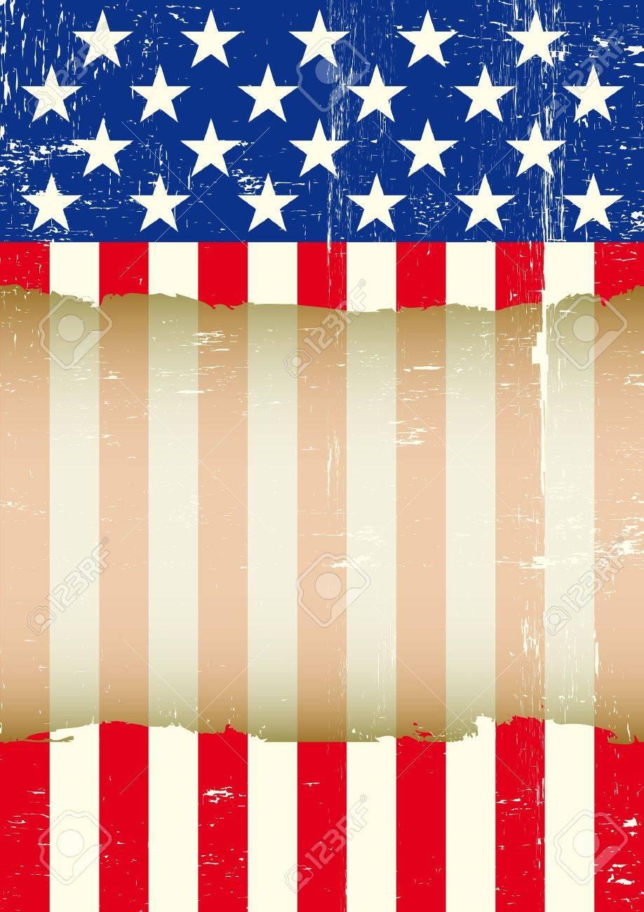 Eine Schmutzige Amerikanische Flagge Mit Einem Großen Transparenten ...