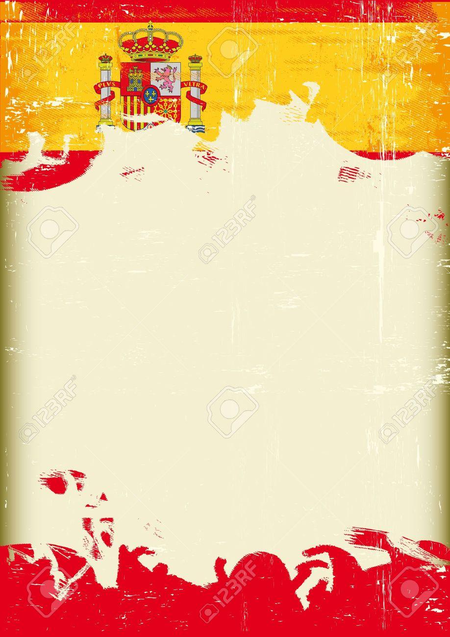 Un Cartel Con Un Gran Marco Rayado Y Una Bandera Del Grunge De ...