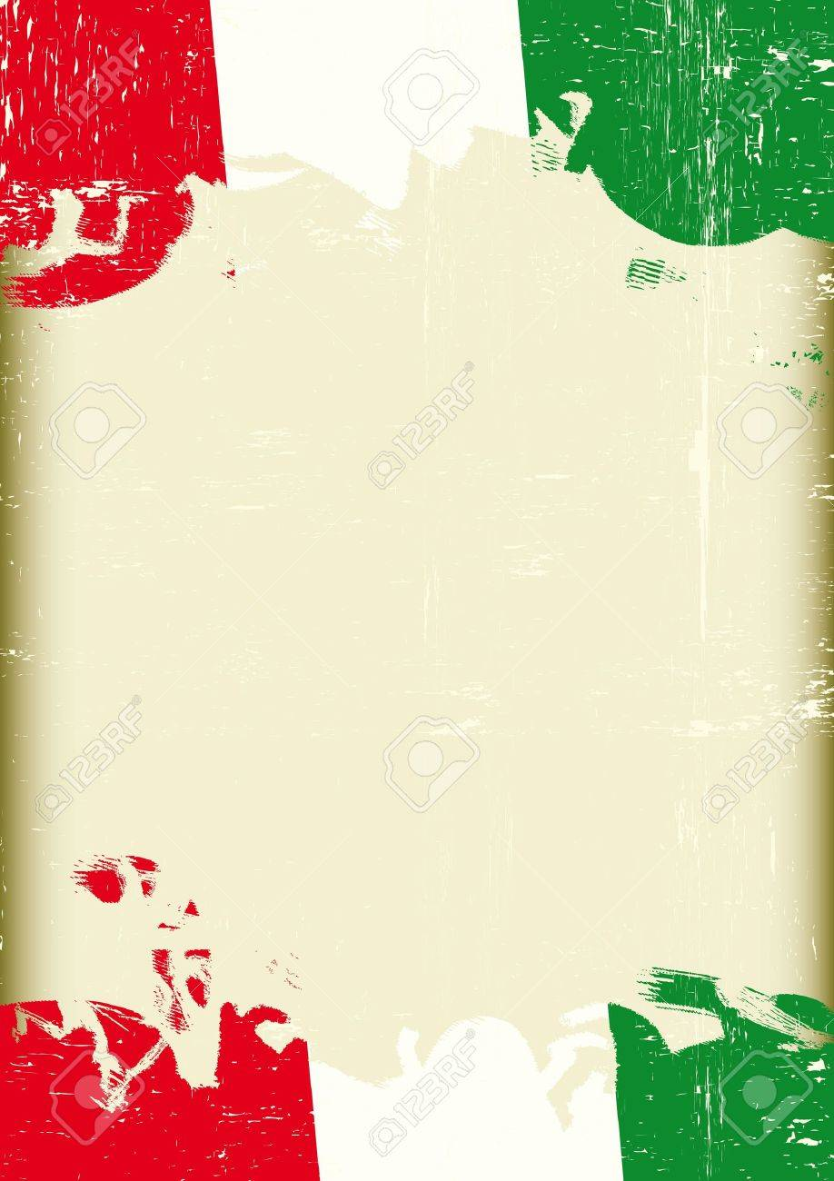 A poster with a large scratched frame and a grunge italian flag for your publicity Stock Vector - 18098108