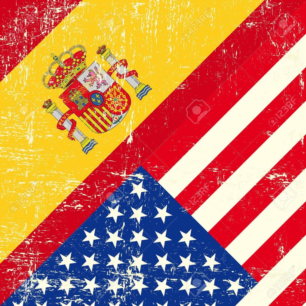 USA and spain grunge Flag Stock Vector - 18147082