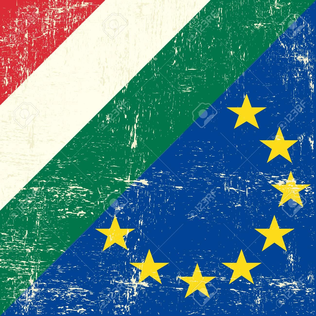 Mixed Hungarian and european grunge Flag Stock Vector - 19350352