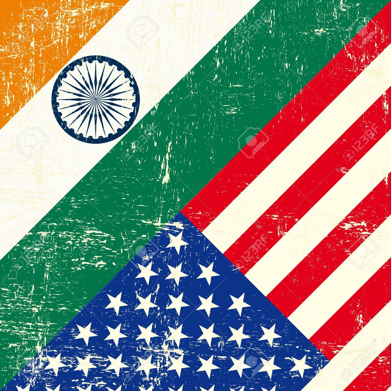 this flag represents the relationship  between India and the USA Stock Vector - 19350393