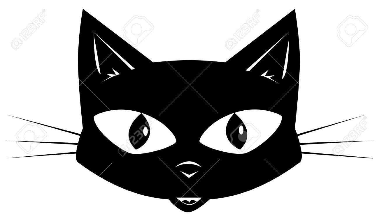 Face Of A Black Cat For A Sticker Or A Mask Royalty Free Cliparts