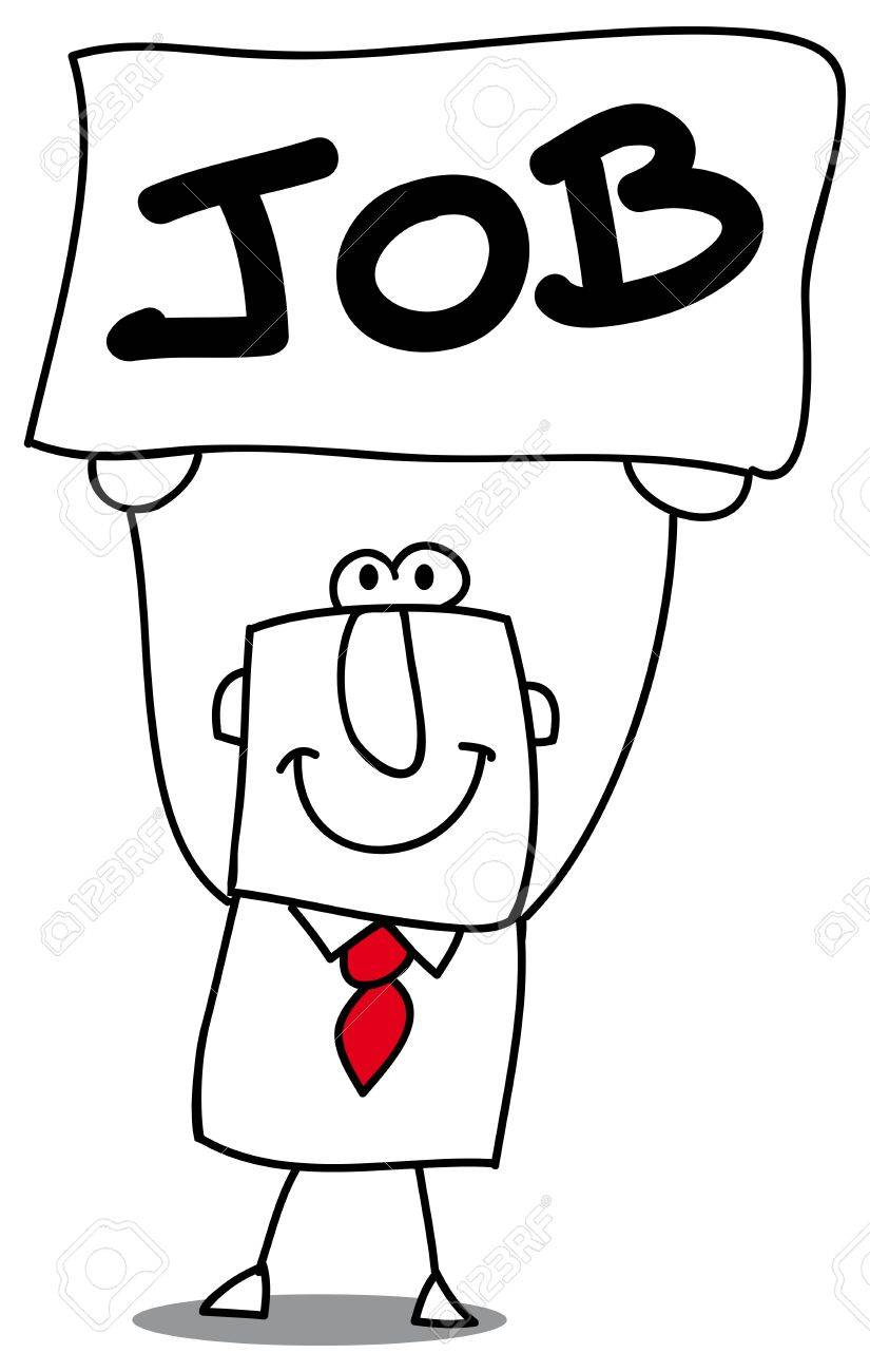 This man with a sign job is unemployed Stock Vector - 20643479