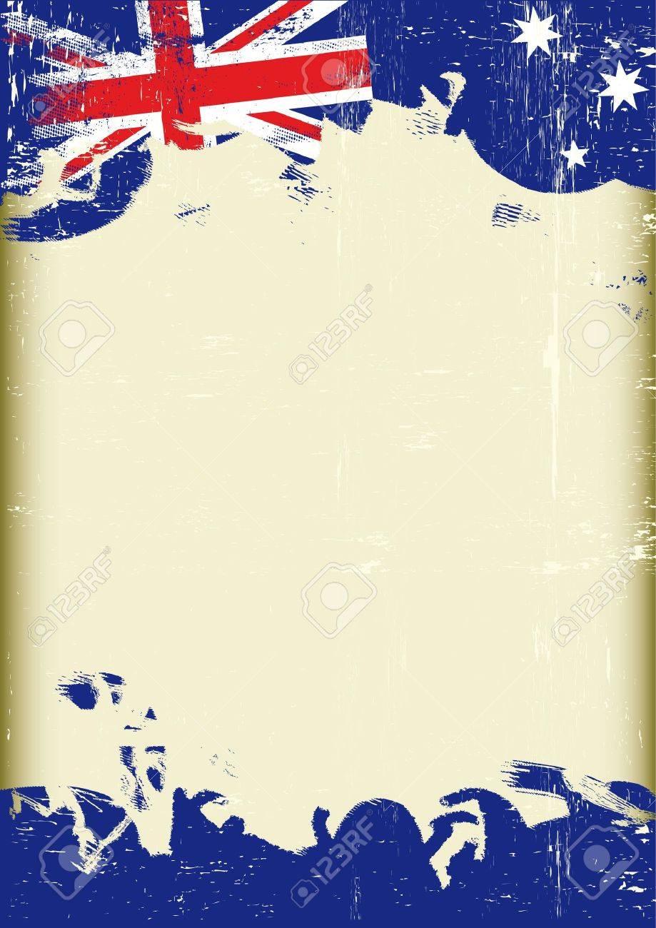 Ein Plakat Mit Einem Großen Rahmen Und Zerkratzt Grunge Australische ...