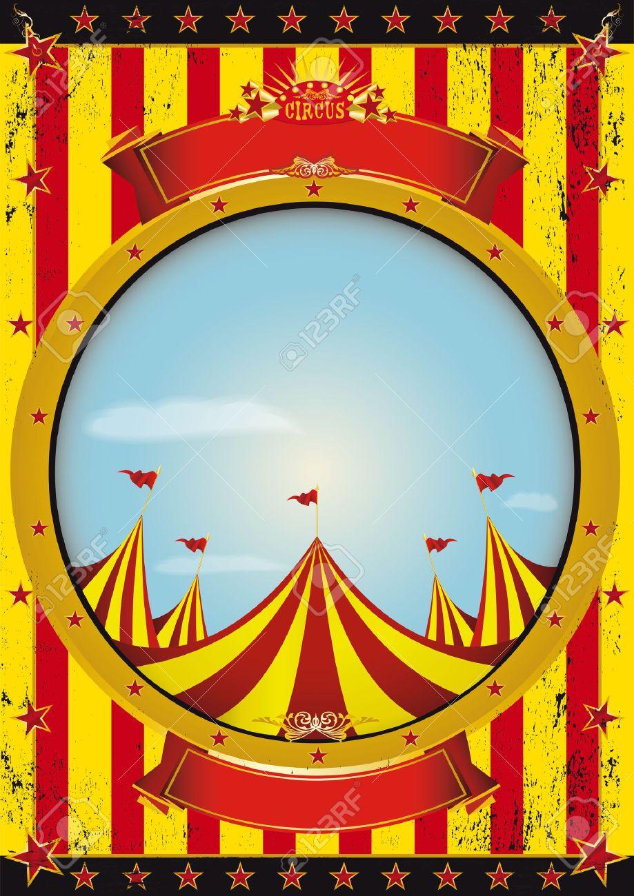 Ein Zirkus-Plakat Mit Einem Zirkuszelt Und Einem Großen Leeren Kreis ...