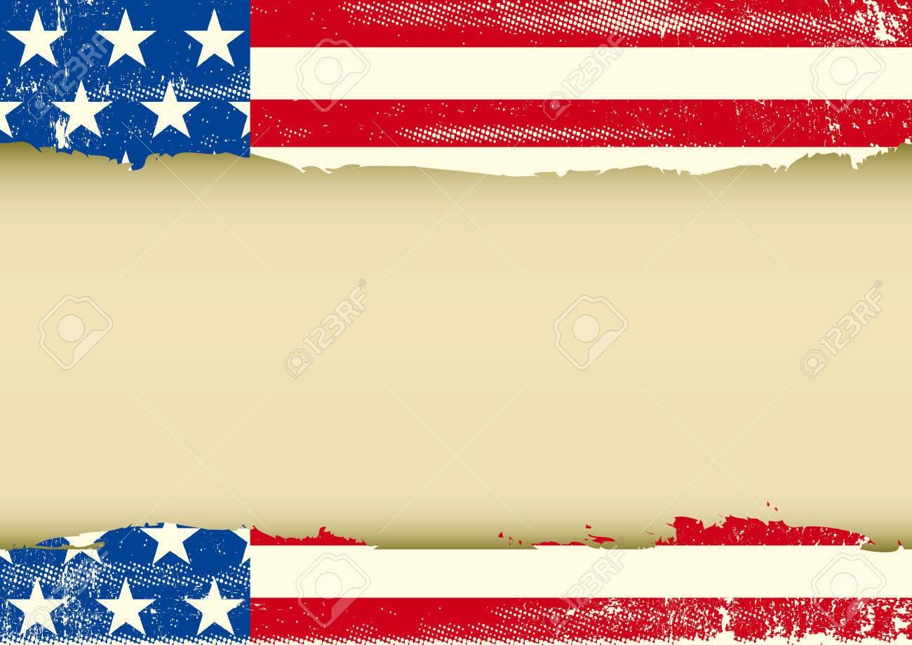 Una Bandera Americana De La Vendimia Con Una Textura Y Un Gran Marco ...