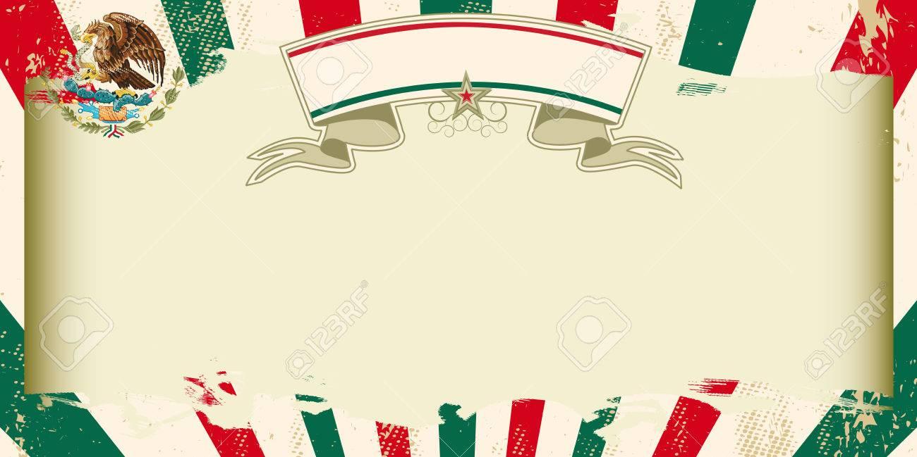 Una Tarjeta De Felicitación Mexicana De La Vendimia Con Los Rayos ...