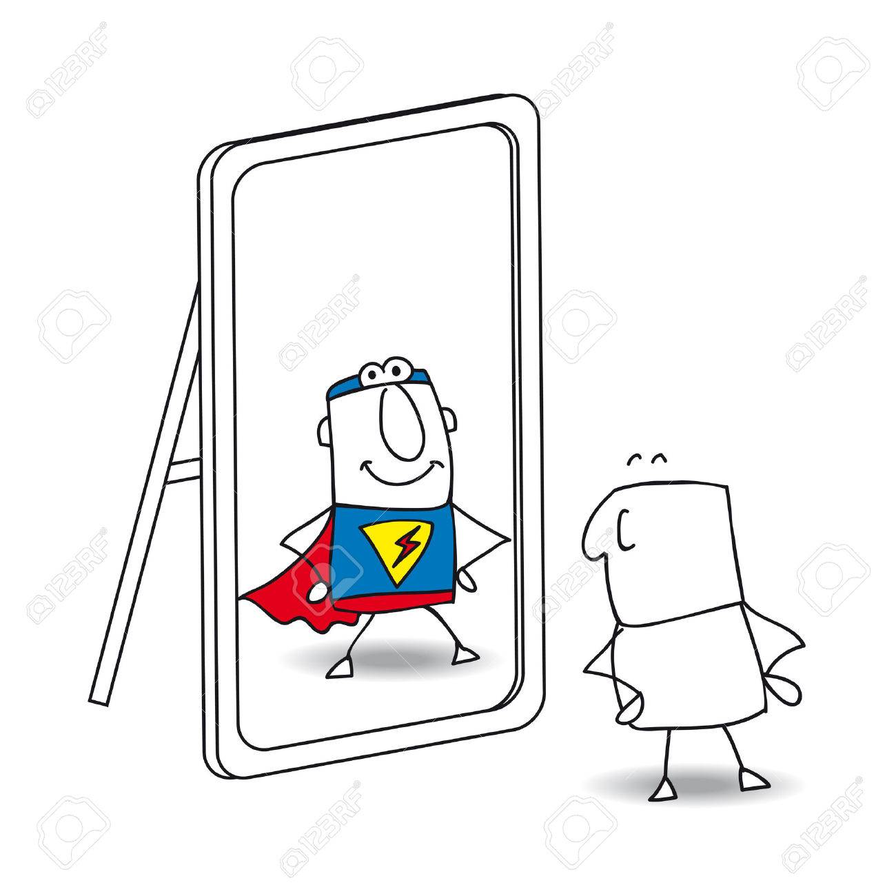 Joe looks in the mirror. He sees a superhero in the reflection. It's a metaphor of the power which is in each person - 36508450