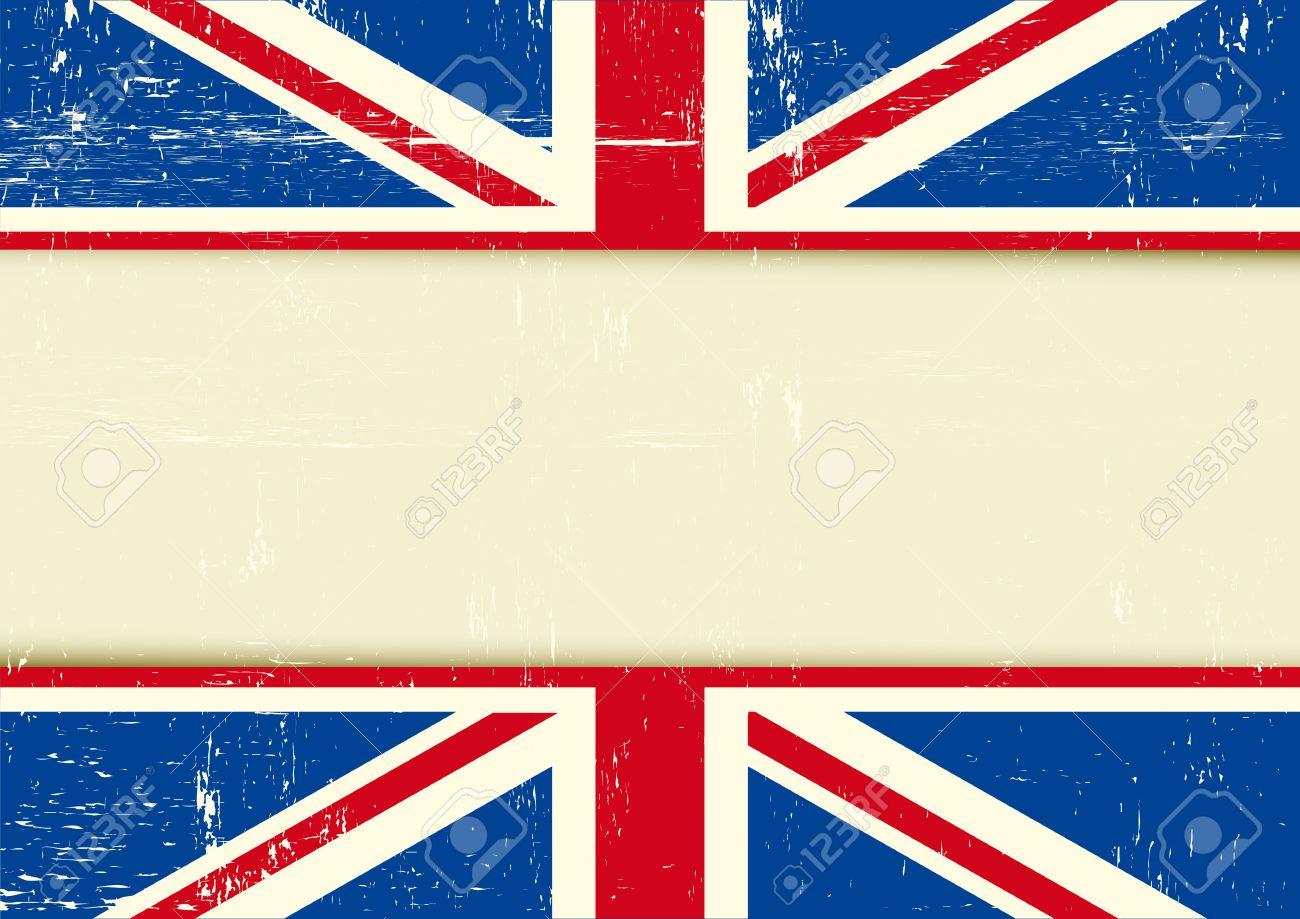 ユニオン ジャックの旗とあなたのメッセージのフレームと水平の背景